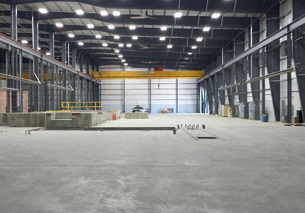 Interior shot of Arkansas Steel building.